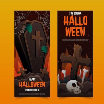 Realistische vertikale halloween-banner-set