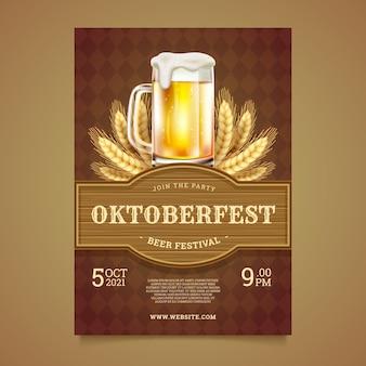 Realistische vertikale plakatvorlage für das oktoberfest