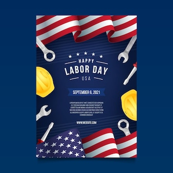 Realistische vertikale plakatvorlage für den arbeitstag