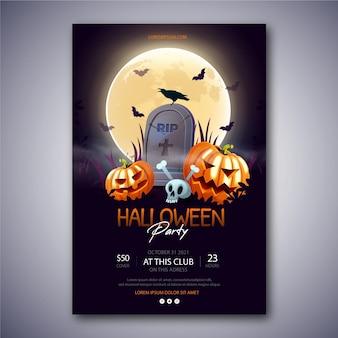 Realistische vertikale plakatvorlage für halloween-partys