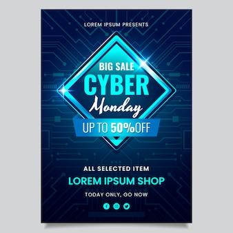 Realistische vertikale postervorlage für cyber monday