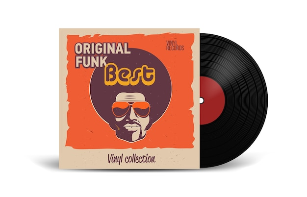 Realistische vinyl-schallplatte mit cover-mockup