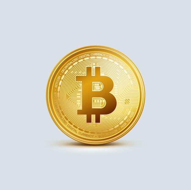 Realistische virtuelle goldene bitcoin-münze kryptowährung goldenes münzen-bitcoin-symbol