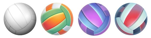 Realistische volleyballbälle set sportgeräte für beachvolleyball, wasserball oder outdoor-freizeit