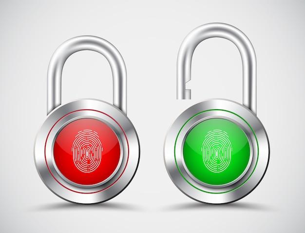 Realistische vorhängeschlösser mit einem fingerabdruck zum öffnen auf dem roten und grünen display
