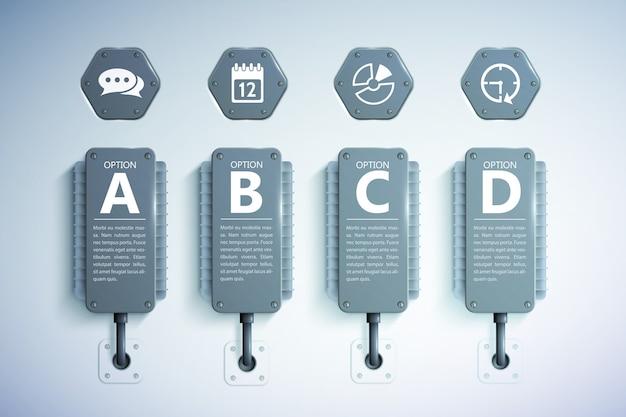 Realistische vorlage des infografikgeschäfts mit vier optionen und symbolen des grauen kühlelementtextes