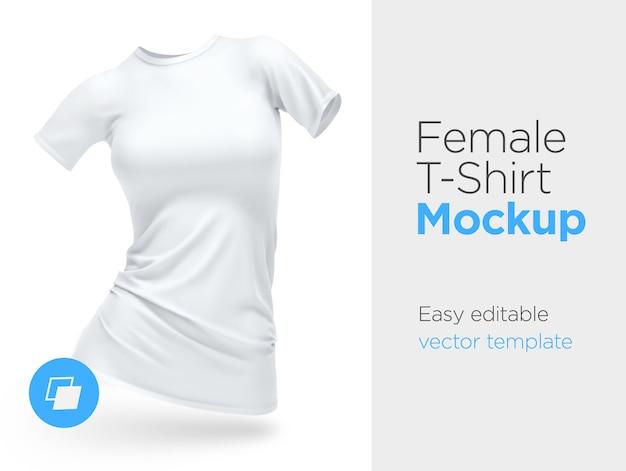Realistische vorlage leere weiße frau t-shirt baumwolle kleidung.