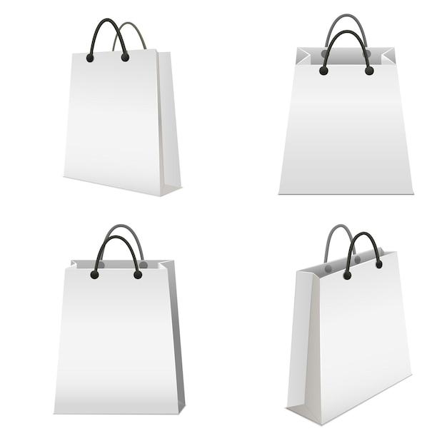 Realistische vorlage leere weiße papiertüte set leer modell für den einzelhandel