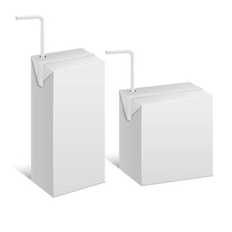 Realistische vorlage leere weiße saftpackung isoliert.
