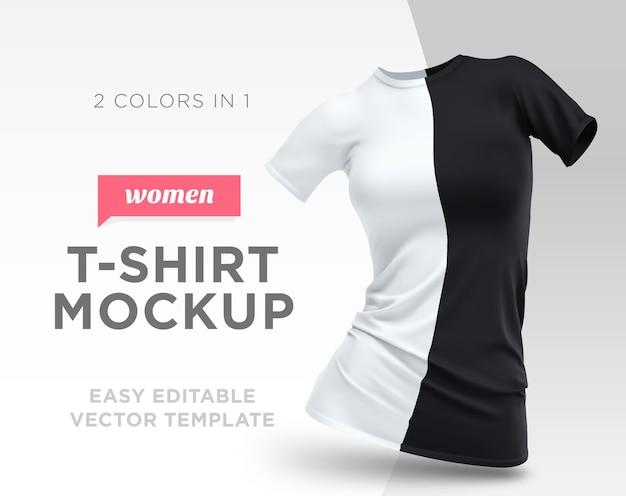 Realistische vorlage leere weiße und schwarze frau t-shirt baumwolle kleidung. leeres modell