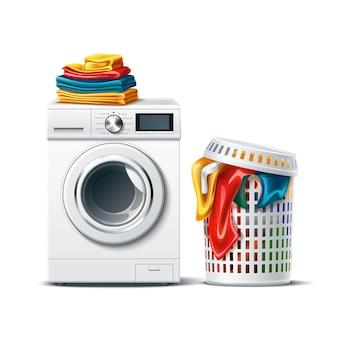 Realistische waschmaschine mit frischer, sauberer gefalteter kleidung und wäschekorb mit schmutzigem tuch