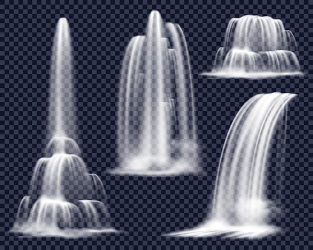 Realistische wasserfälle auf transparentem hintergrund
