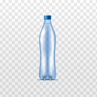 Realistische wasserflasche isoliert - plastikbehälter mit klarer blauer getränkeflüssigkeit ohne etikett mit geschlossenem deckel. vektorillustration.