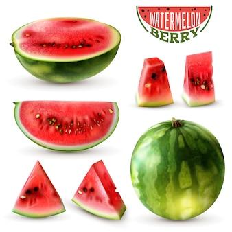 Realistische wassermelonenbilder, die mit ganzen beerenhalbkeilscheiben und mundgerechten stücken lokalisierte vektorillustration eingestellt werden