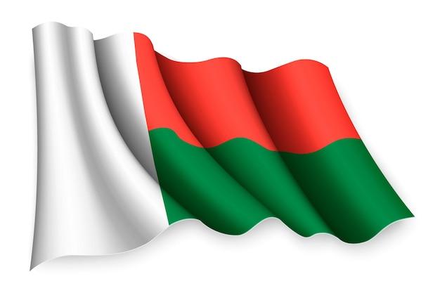 Realistische wehende flagge von madagaskar