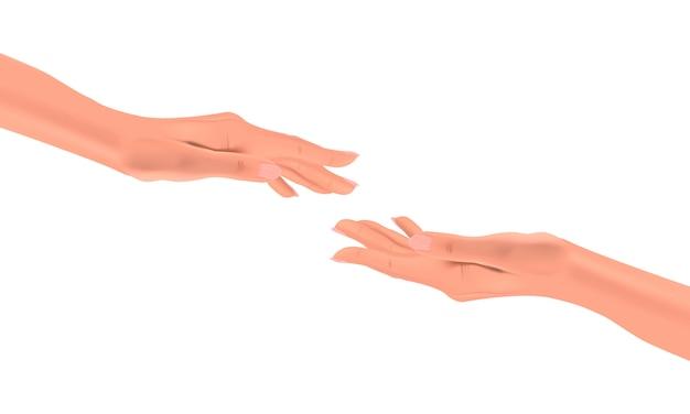 Realistische weibliche hände, die auf einem isolierten hintergrund, konzept der anhaftung, illustration für einander greifen