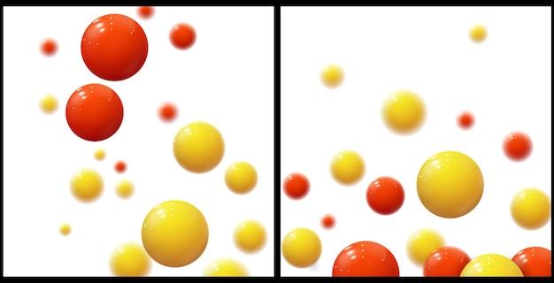 Realistische weiche kugeln. plastikblasen. glänzende kugeln. 3d geometrische formen, abstrakter hintergrund. modernes cover- oder geschäftsberichtskonzeptdesign. satz dynamischer vektorvorlagen.