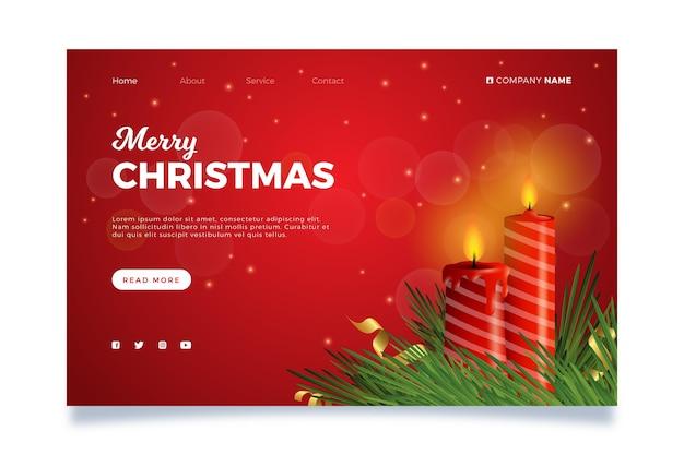 Realistische weihnachts-landingpage-vorlage