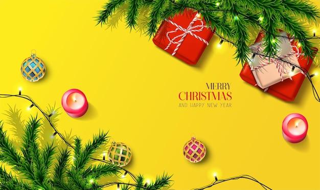 Realistische weihnachts- und neujahrskarte
