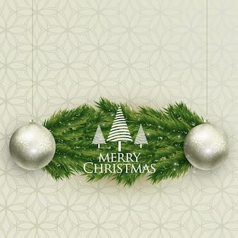 Realistische weihnachtsbälle und baum verlässt backgroung
