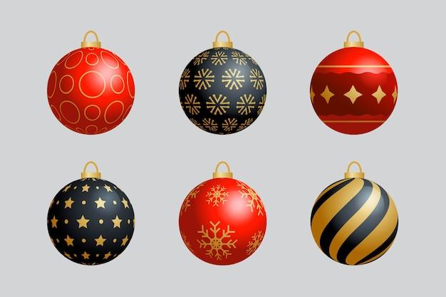 Realistische weihnachtsballverzierungen