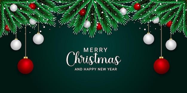 Realistische weihnachtsbanner roter und weißer ball goldener schnee mit grünem hintergrund