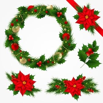 Realistische weihnachtsblumen- und kranzsammlung