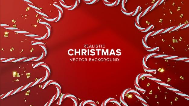 Realistische weihnachtsbonbons auf rotem hintergrund