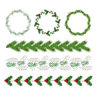 Realistische weihnachtsdekorationssammlung