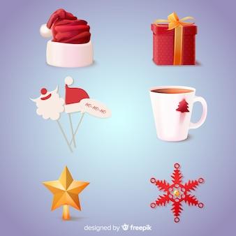 Realistische weihnachtselementsammlung