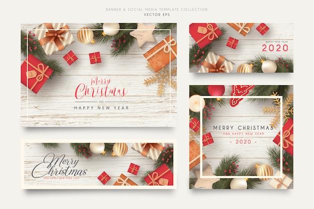 Realistische weihnachtsfahne und social media-schablonensammlung