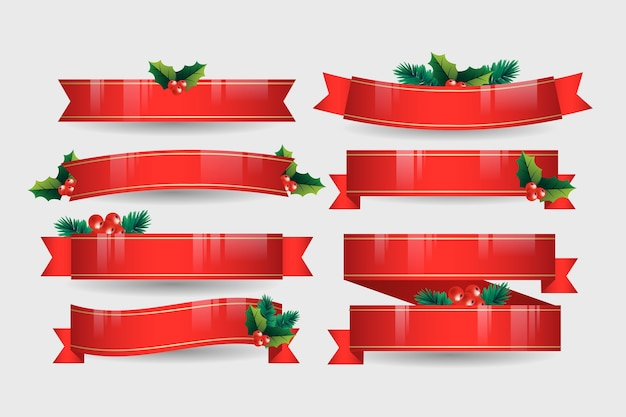 Realistische weihnachtsfarbbandansammlung