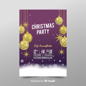 Realistische weihnachtsfeier flyer vorlage