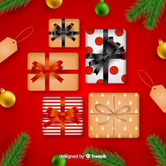 Realistische weihnachtsgeschenksammlung der draufsicht