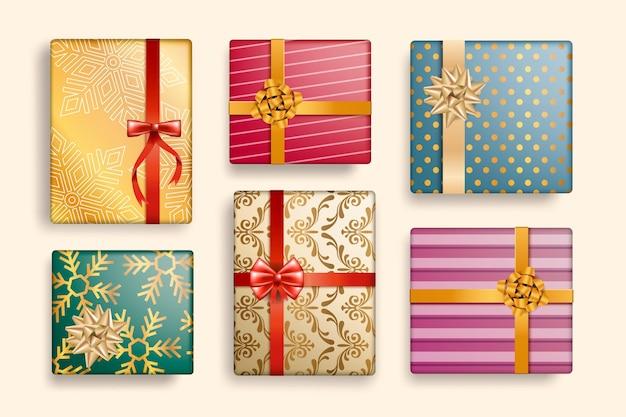 Realistische weihnachtsgeschenksammlung
