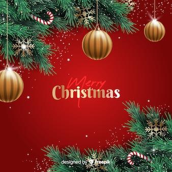Realistische weihnachtskugel- und -süßigkeitsdekoration