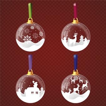 Realistische weihnachtskugeln eingestellt