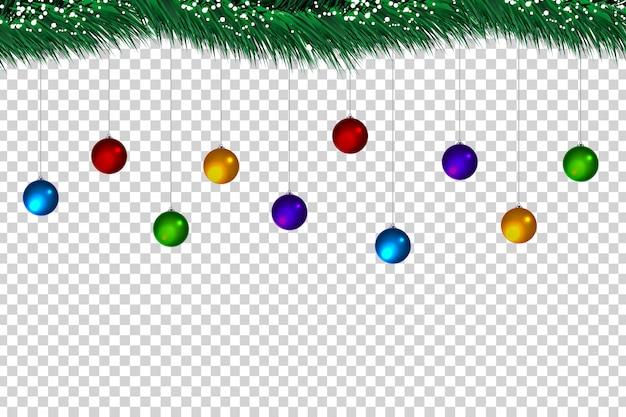 Realistische weihnachtskugeln und tannenbaum zur dekoration und abdeckung auf dem transparenten hintergrund.