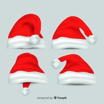 Realistische weihnachtsmütze kollektion