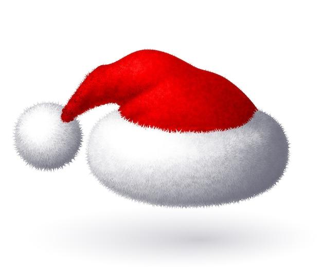 Realistische weihnachtsmütze lokalisiert auf weißem hintergrund. rgb globale farben