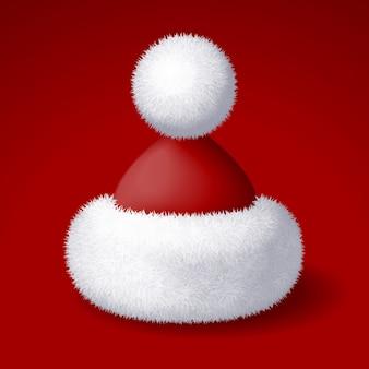 Realistische weihnachtsmütze mit weißem fell lokalisiert auf rotem hintergrund. rgb globale farben