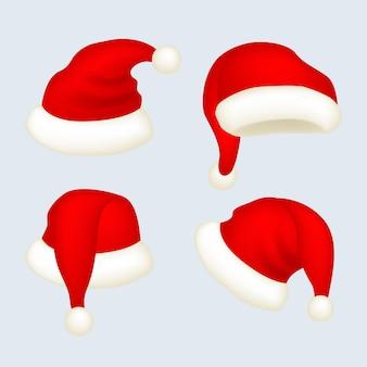 Realistische weihnachtsmützenkollektion