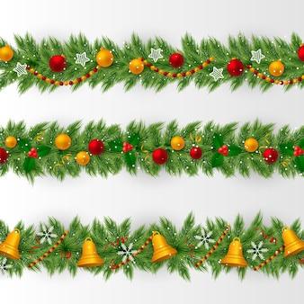Realistische weihnachtsrahmen und randkollektion