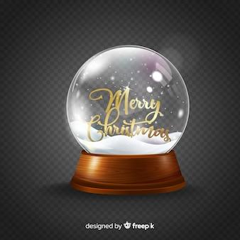 Realistische weihnachtsschneeballkugel
