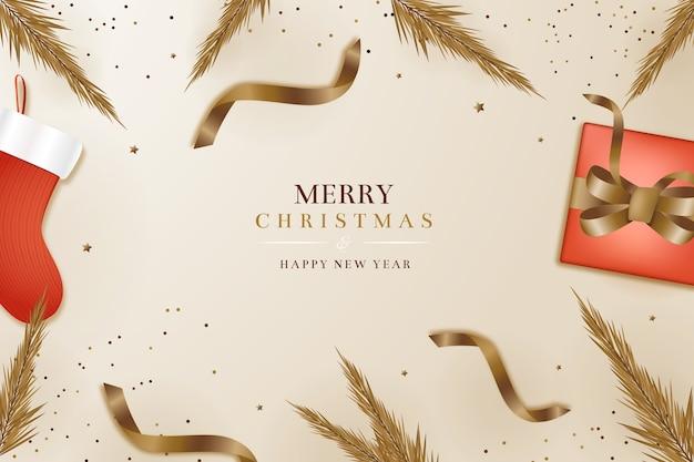 Realistische weihnachtstapete im eleganten stil
