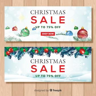 Realistische weihnachtsverkauf banner