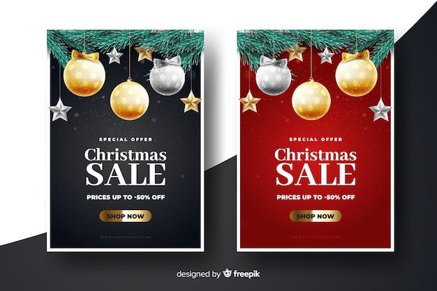Realistische weihnachtsverkaufs-fahnenschablone
