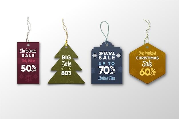 Realistische weihnachtsverkaufs-tag-sammlung