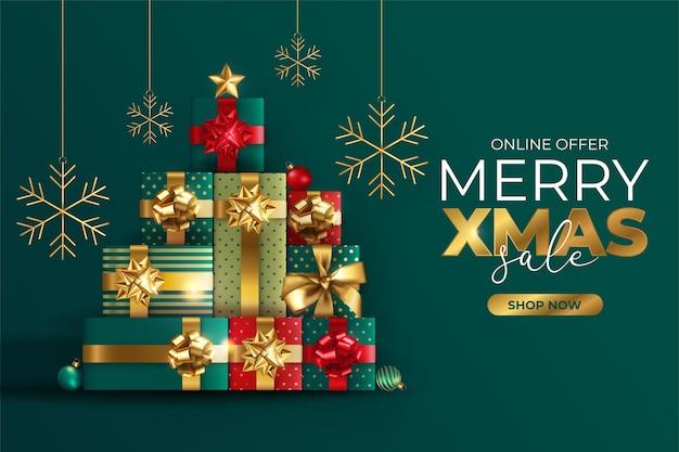 Realistische weihnachtsverkaufsfahne mit baum aus geschenken
