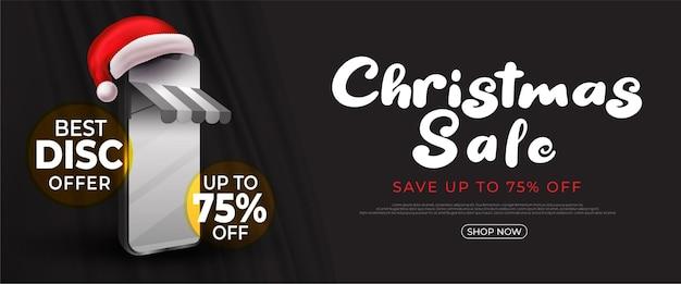 Realistische weihnachtsverkaufsfahne mit online-shopping-konzept
